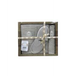 Мужской комплект для бани Purry (юбка, полотенце 50*90, тапочки) бежевый (ts-02387)