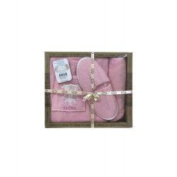 Женский комплект для бани Purry (юбка, капюшон, тапочки) Sauna розовый (ts-02395)