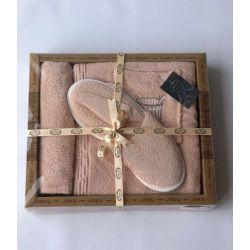 Женский комплект для бани Purry (юбка, капюшон, тапочки) Кадушка с шапкой пудра (ts-6001461)