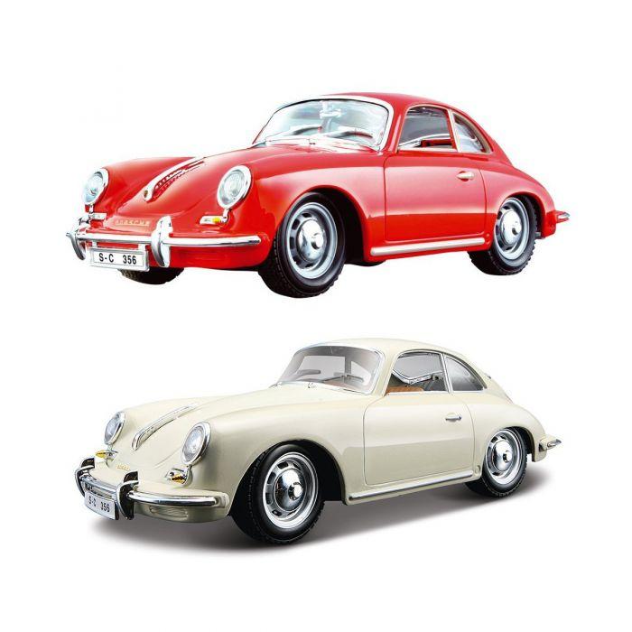 Автомодель Bburago - PORSCHE 356B (1961) (ассорти слоновая кость, красный, 1:24)  18-22079