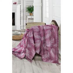 Плед-накидка Eponj Home Buldan Keten - Palmiye 170*220 mor пурпурный (svt-2000022263580)