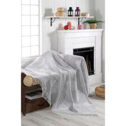 Плед-накидка Eponj Home Buldan Keten - Monstera 170*220 gri серый (svt-2000022282307)