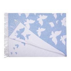 """Плед хлопковый  """"Love you"""" 140х200 бабочка голубой (m016379)"""