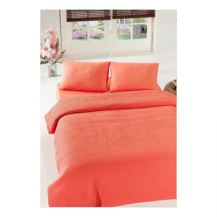 Покрывало пике Eponj Home - Burumcuk coral вафельное 200*235 (svt-2000022254656)