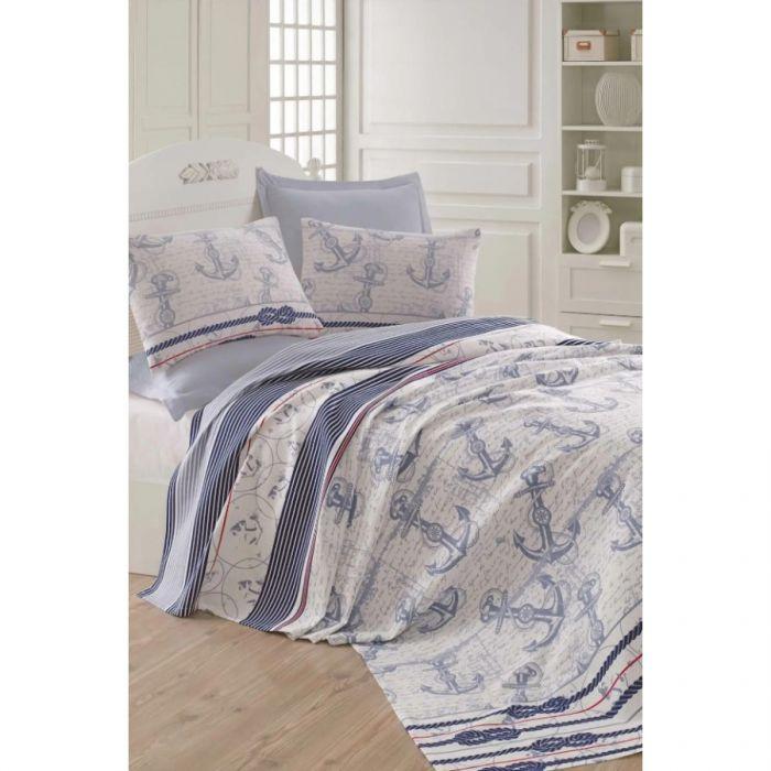 Покрывало пике Eponj Home - Capa a.mavi голубой вафельное 200*235 (svt-2000022254670)