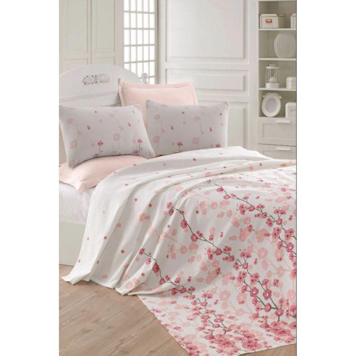 Покрывало пике Eponj Home - Coretta a.pembe розовый вафельное 200*235  (svt-2000022283397)