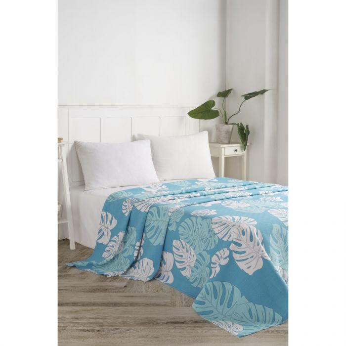 Покрывало пике Eponj Home - Monstera mavi голубой вафельное 200*235  (svt-2000022283403)