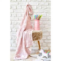 Детское покрывало пике Karaca Home - Baby star pembe розовый 80*120 (svt-2000022253758)
