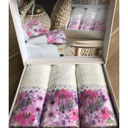 Набор махровых полотенец Do & Co Полевые цветы 30*50 3 шт (ts-01752)
