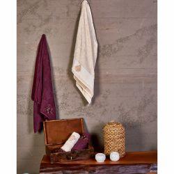 Набор полотенец Karaca Home - Fronda Murdum-Bej 2020-2 фиолетовый-беж 50*90+85*150 (svt-2000022245364)