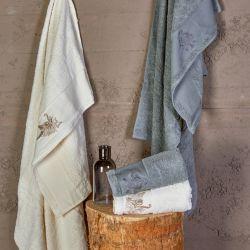 Набор полотенец Karaca Home - Fronda Offwhite-Gri 2020-2 серый 50*90+85*150 (svt-2000022245371)