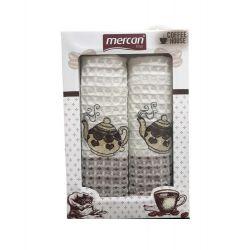 Набор кухонных полотенец Mercan вафельных Teapots V1 50*70 2 шт (ts-02533)