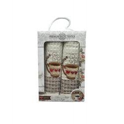 Набор кухонных полотенец Mercan вафельных Fresh Fruit Вишня и Яблоко 50*70 2 шт (ts-6001046)