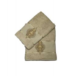 Набор махровых полотенец Merzuka Pera 50*90 и 70*140 бежевый  (ts-01807)