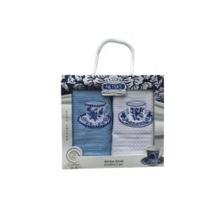 Набор кухонных полотенец Nilteks вафельные Гжель 40*60 2 шт синий кремовый (ts-6001045)