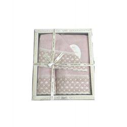 Набор махровых полотенец Sikel лен кружево Lace 30*50 + 50*90 + 70*140 пудровый (ts-02569)