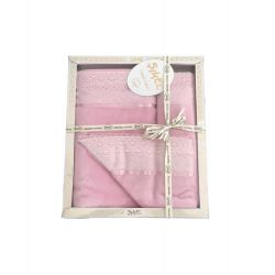 Набор махровых полотенец Sikel лен кружево Grace 30*50 + 50*90 + 70*140 розовый (ts-02571)