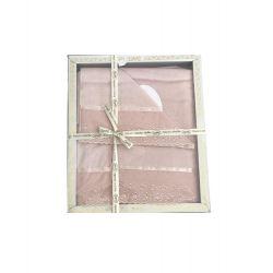 Набор махровых полотенец Sikel лен кружево Grace 30*50 + 50*90 + 70*140 пудровый (ts-02572)