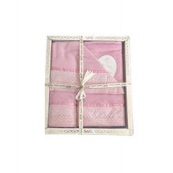 Набор махровых полотенец Sikel лен кружево Flowers 30*50 + 50*90 + 70*140 розовый (ts-02573)