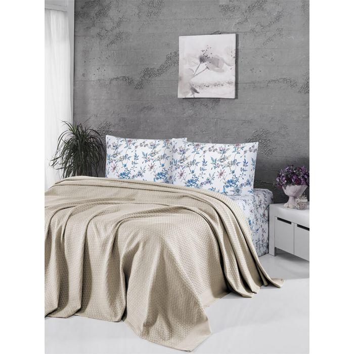 """Комплект постельного белья ТМ """"FIRST CHOICE"""" deluxe pike bej (m015776) + вафельное покрывало"""
