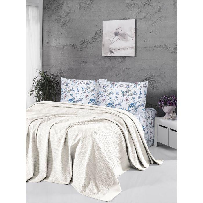 """Комплект постельного белья ТМ """"FIRST CHOICE"""" deluxe pike krem (m015772) + вафельное покрывало"""