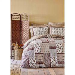 Постельное белье Karaca Home сатин - Maryam bordo 2020-2 бордовый евро (svt-2000022245777)
