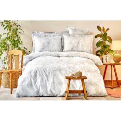 Постельное белье Karaca Home сатин - Kaori gri серый евро (svt-2000022254465)