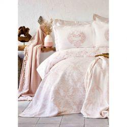 Постельное белье Karaca Home сатин - Quatre royal pudra пудра евро (svt-2000022254489)