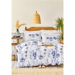 Постельное белье Karaca Home сатин - Roses mavi голубой евро (svt-2000022261579)