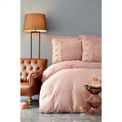 Постельное белье Karaca Home сатин - Infinity pudra пудра евро (svt-2000022225601)
