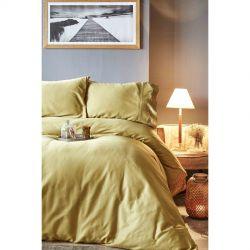 Постельное белье Karaca Home сатин - Infinity hardal оливковый евро (2000022194471)