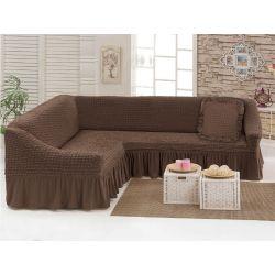 "Чехол для мебели (диван угловой +подушка) ""Love you"" шоколад (9) (m015907)"