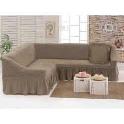 """Чехол для мебели (диван угловой +подушка) """"Love you"""" какао (5) (m015909)"""