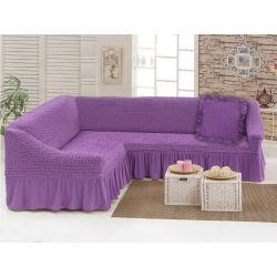 """Чехол для мебели (диван угловой +подушка) """"Love you"""" лиловый (29) (m015911)"""