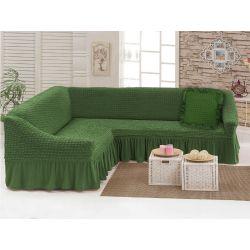 "Чехол для мебели (диван угловой +подушка) ""Love you"" олива (24) (m015912)"