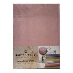 Простынь трикотажная на резинке Gold Soft Life Terry Fitted Sheet 90*200 розовый (ts-02021)