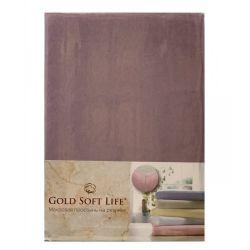 Простынь трикотажная на резинке Gold Soft Life Terry Fitted Sheet 160*200 фиолетовый (ts-02040)