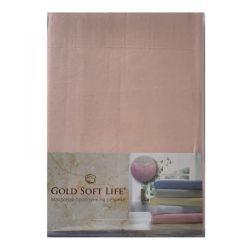 Простынь трикотажная на резинке Gold Soft Life Terry Fitted Sheet 160*200 персиковый (ts-02036)