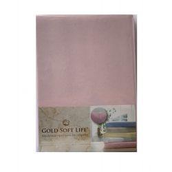 Простынь трикотажная на резинке Gold Soft Life Terry Fitted Sheet 160*200 светло розовый (ts-02037)