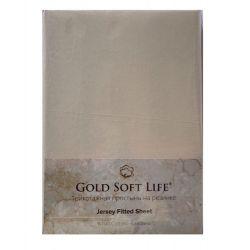 Простынь трикотажная на резинке Gold Soft Life Terry Fitted Sheet 160*200 кремовый (ts-02039)