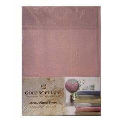 Простынь трикотажная на резинке Gold Soft Life Terry Fitted Sheet 160*200 розовый (ts-02042)