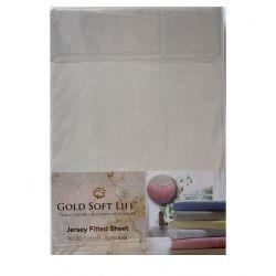 Простынь трикотажная на резинке Gold Soft Life Terry Fitted Sheet 160*200 молочный (ts-02043)